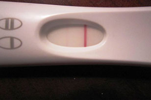 pregnancy test showing not pregnant line
